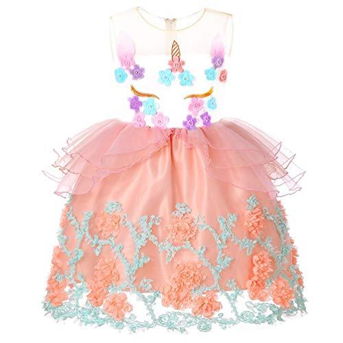 Girls Unicorn Tutu Costume Party Dress Kids Floral Birthday Pageant Princess Flower Wedding Christmas -