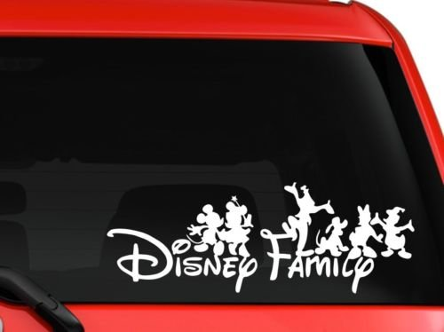 LA DECAL Disney family Mickey and friends car truck SUV mac book laptop tool box wall window decal sticker approx. 8 inches white