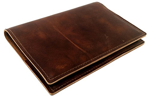 Thick Top Grain American Cowhide Leather Cover by DIY Indispensables for Included US Military Log Record Book 5-1/4 x 8 Inch NSN 7530-00-222-3521 Refillable Made in USA (Saddle Rustic)