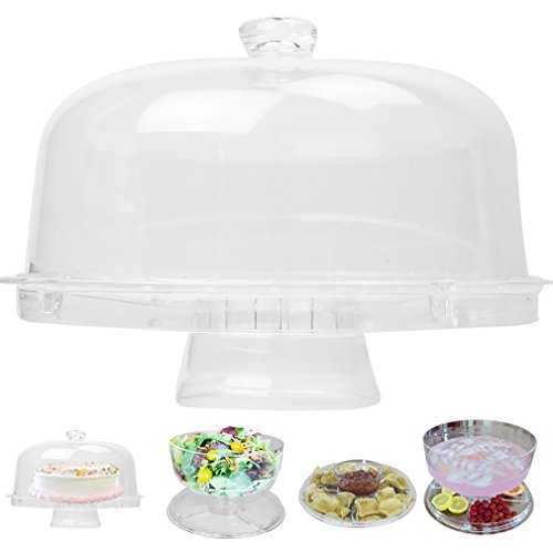 Evelots 6-in-1 Cake Stand, Multi-Function Serving Platter, Salad & Punch Bowl -