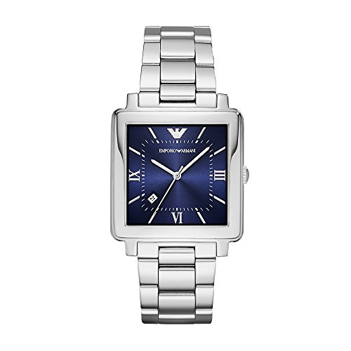 Emporio Armani Men's Dress Watch Quartz Stainless-Steel Strap, Silver, 10 (Model: AR11072)