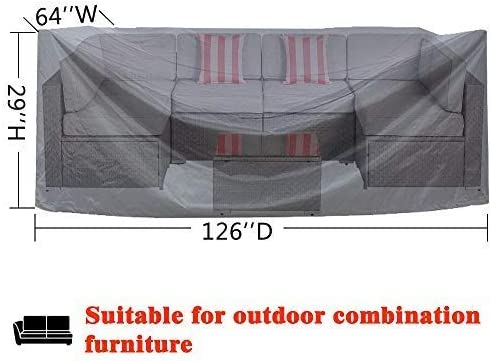 AKEfit Patio Furniture Cover Outdoor sectional Furniture Covers Waterproof Dust Proof Furniture Lounge Porch Sofa Protectors D126 x W64 x H29
