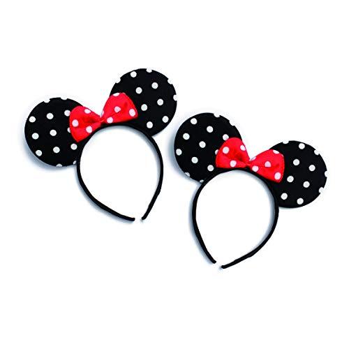 Cute Costume Cosplay Hair Accessory Headpiece - Festive Halloween Headband Minnie Mouse Polka Dot Bow Ear/Patriotic American Flag/Rhinestone Stars/USA (Set of 2)