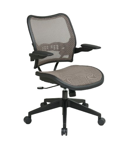 SPACE Seating Deluxe AirGrid Seat and Back, 2-to-1 Synchro Tilt Control and Cantilever Arms Managers Chair, Latte by Space Seating