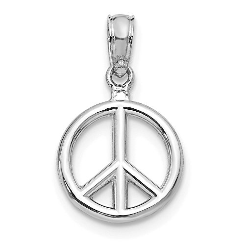 Polished Peace Sign Pendant - 14k White Gold 10mm Polished 3D Peace Sign Pendant