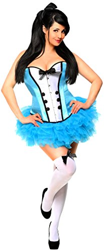 Daisy corsets Women's Plus Size 4 Piece Sexy Alice Costume, Blue, 3X