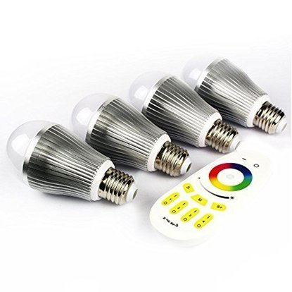 Mi-Light Remote Control System 4 Confezione: 4 x 9W E27 LED 1,6 milioni Colore lampada bianca calda per Mi-Light dimmerabili 2.4Ghz RF Remote Control System [Classe energetica A +] [Classe energetica