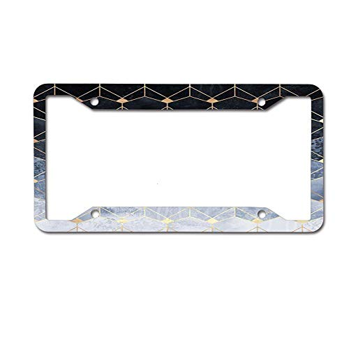 - Puyrtdfs Blue Hexagons and Diamonds Funny License Plate Frame Unique Design Vanity License Plate, Metal Car License Plate 4 Holes
