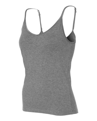 Belle Satin Bra - Bella Ladies Cotton-Spandex Shelf Bra Camisole in Deep Heather - Medium