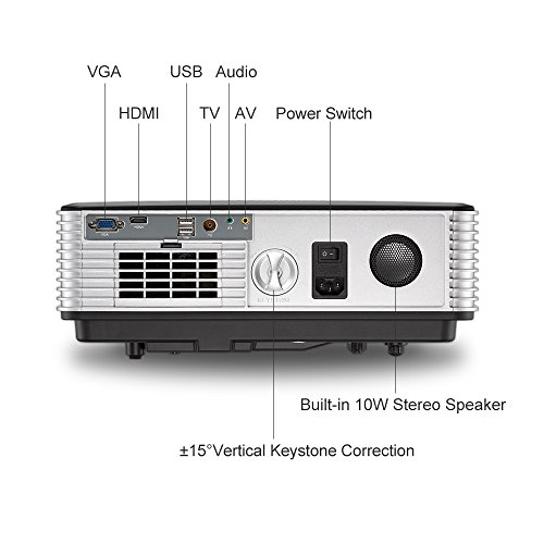 Android WiFi Projector 3500 Lumen- Support 1080P Full HD WiFi Airplay Miracast- LCD Multimedia LED Home Theater Movie Video Game- HDMI USB SD VGA Built-in Speaker by EUG (Image #4)