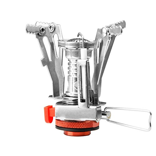 Camping Stove W Piezo Ignition Mini Gas Stove Windproof and Collapsible Camp Burner for Outdoor Backpacking(Butane/Butane Propane Canister Compatible) (Orange)