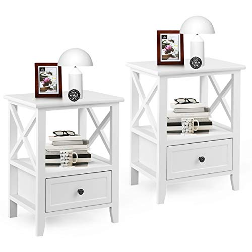 Giantex Nightstand Set of 2 End Tables W/Storage Shelf and Wooden Drawer for Living Room Bedroom Bedside Accent Home Furniture Side Table (White)