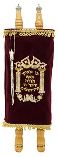 Torah Scroll Complete Sefer Torah Children's Torah, X-Large Maroon Velvet Torah - 22