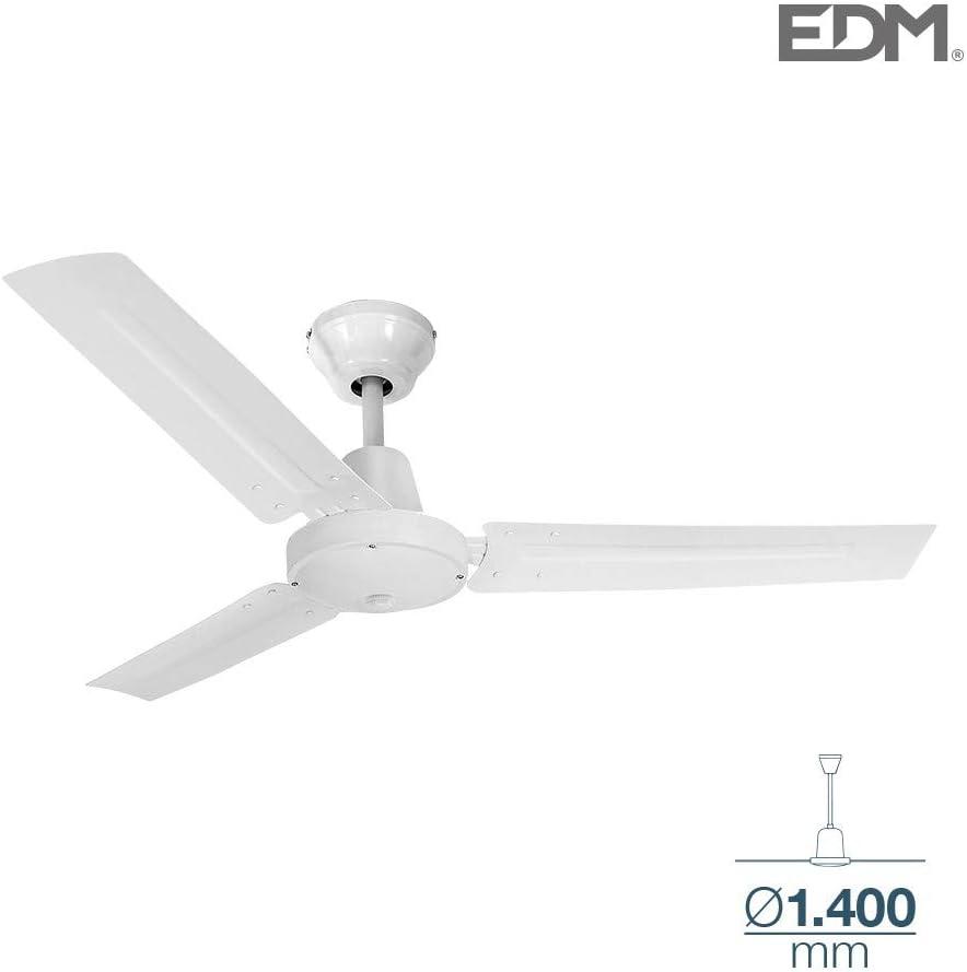 Ventilador de techo industrial blanco sin luz 55W 140cm EDM 33981