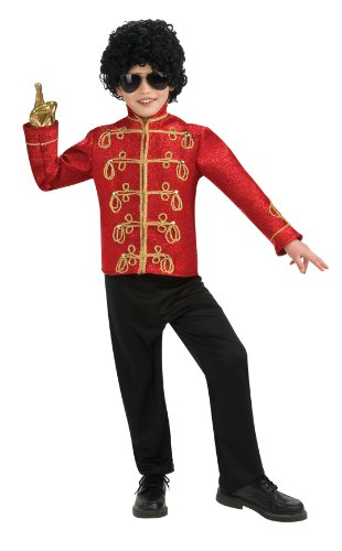 Michael Jackson Child's Deluxe Military Jacket Costume Accessory, Medium, Red