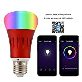 Smart Led Bulb,RGB Dimmable Color Changing WiFi Light Bulbs, Work with Amazon Alexa and Google Assistant, Phone Control,E27,600LM