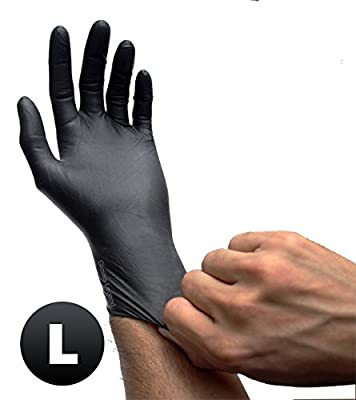 Black Latex Powder Free Disposable Tattoos Piercing Industrial Gloves - Size Large - 100 gloves/Box