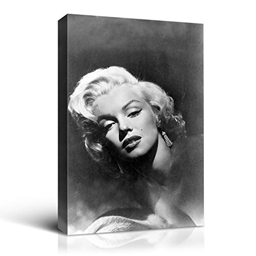 """Denozer - Marilyn Monroe Canvas Wall Art Print Black and White Wall Art Home Decor Retro Vintage Design Gallery Stretched and Framed Ready to Hang - 24"""" x 36"""""""