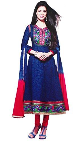 Floral Embroidery Suit Fabric Dress Anarkali Unstitched Salwar Kameez Fabric India