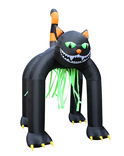 BZB Goods Jumbo 13 Foot Tall Halloween Inflatable Black Cat Archway Outdoor Indoor Holiday Decorations, Blow Up LED Lights Lighted Yard Decor, Giant Lawn Inflatables for Home Family Party Prop ()
