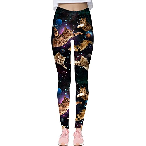 Adicreat Ladies Cute Digital Print Full Length Leggings High Waisted Leggings Fitted Stretchy Pants, Fly Cat, 10