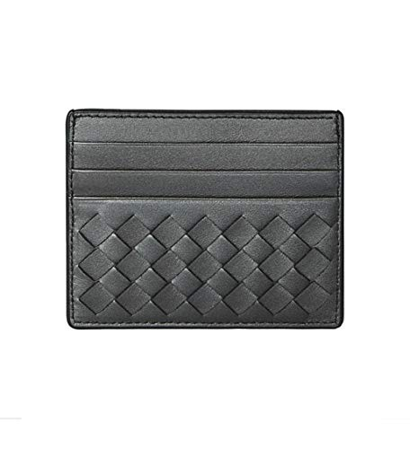 (Bottega Veneta Wallet Intrecciato Leather Credit Card Holder Antique Silver Grey )