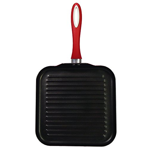 "Maestro Cookware Classico Series Heavy Gauge Pressed Aluminum Square Griddle with Non-Stick Coating, 11"", Red"