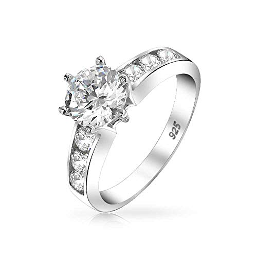 (Bling Jewelry Sterling Silver Channel Set 6-Prong 1.25ct CZ Engagement Ring - Size 6)