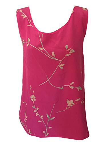 D. West Women's Silk Satin Print Tank Top L Pink/F - Satin Print Tank