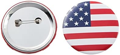 24 LARGE ROUND AMERICAN FLAG BUTTONS usa button pins UNITED STATES FLAGS NEW LOT