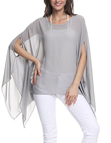 Nicetage Women Chiffon Blouse O Neck Short Sleeve Top Shirts 10003