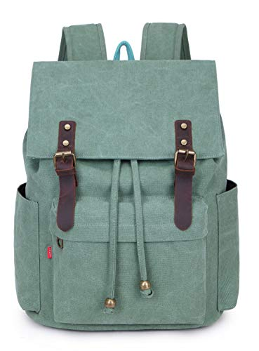 Crest Design Vintage Canvas 16 inch Laptop Backpack School Bag Hiking Travel Rucksack 25L -