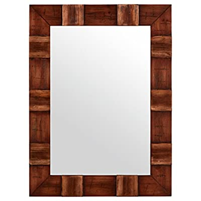 "Stone & Beam Rustic Wood Frame Mirror, 31.5""H, Brown - Sections of wood with variegated colors and patterns overlap to form a mirror frame with depth and texture. This mirror can blend with traditional, contemporary and transitional decor. Influences of modern and classic styles Glass, solid fir wood - bathroom-mirrors, bathroom-accessories, bathroom - 41 XYYXphTL. SS400  -"