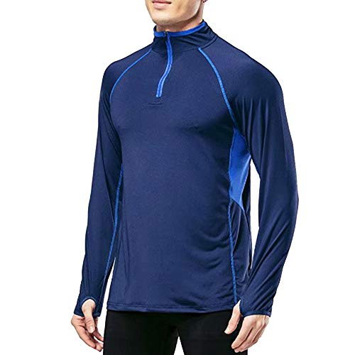 MUSCLE ALIVE Men's Quarter Zip Running Active T Shirts Workout Long Sleeve Jersey with Thumb Holes Blue Color Size - T-shirt Mens Alive