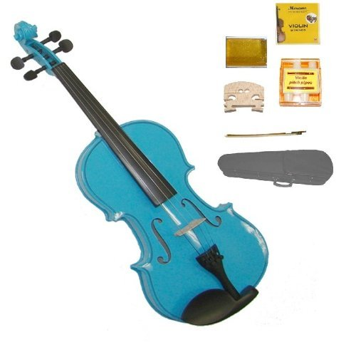 GRACE 1/2 Size Blue Acoustic Violin with Case and Bow+Rosin+2 Sets Strings+2 Bridges+Tuner by Grace