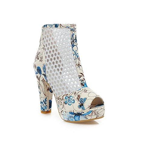Amoonyfashion Donna Morbido Materiale Peep Toe Tacco Alto Cerniera Colori Assortiti Sandali Blu