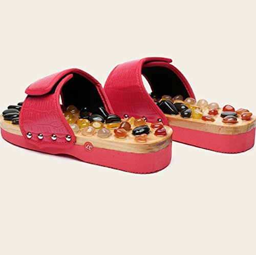 Zapatos De Masaje De Pies De Acupresión Zapatillas De Masaje De Piedra De Ágata Natural , Red , 41