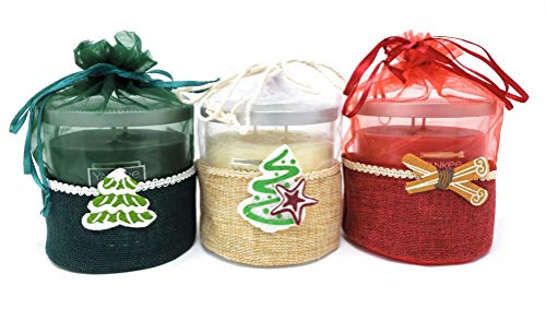 Yankee Candle Balsam & Cedar, Christmas Cookie, and Sparkling Cinnamon Two-Wick Medium Tumbler Candle Bundle - Set of 3 Festive Gift-Wrapped Holiday Candles from Yankee Candle