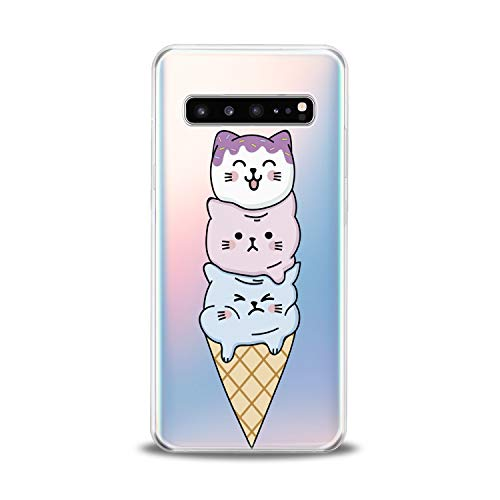 Lex Altern TPU Case for Samsung Galaxy s10 5G Plus 10e Note 9 s9 s8 s7 New Cute Kawaii Cat Clear Silicone Animal Ice-Cream Cover Funny Print Protective Lightweight Flexible -