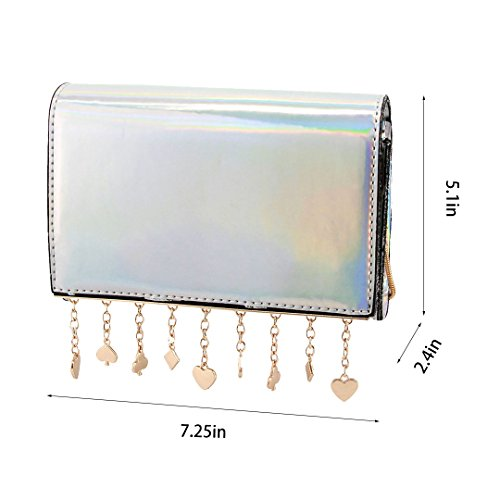 Prom Bag Bag Bag Gabrine Crossbody Evening Womens Purse Party Wedding Handbag Silver Holographic Hologram Shoulder for Clutch YwwAgqZU