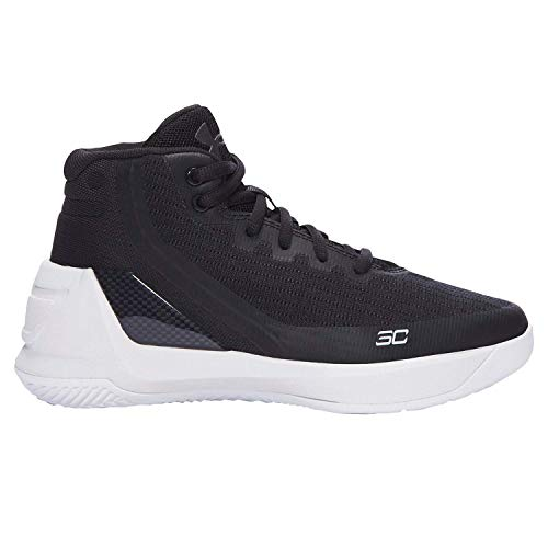 Under Armour Boy's Curry 3 Basketball Shoe Black/White Size 11 Kids US (Youth White Multi Kids Shoes)