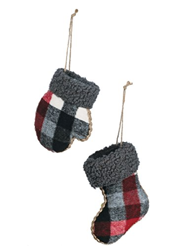 Sullivans Plaid Mitten and Stocking Christmas Ornaments, Set of 6 in 2 Styles, 4.5