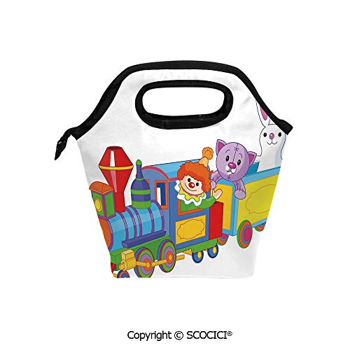 Reusable Printed Design Lunch Bag Clown Cat and Bunny Sitting in The Train Kids Toys Cartoon Style Funny Cheerful Lunch Tote bag for Work and School. -