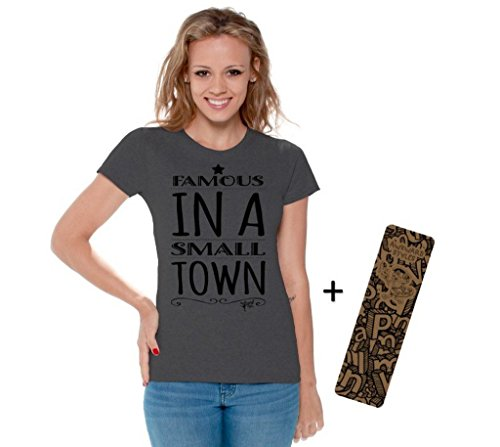 Famous Tee Shirts - Awkwardstyles Women's Famous in A Small Town T-Shirt Music Shirt + Bookmark S Charcoal