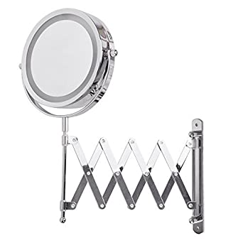 Adjustable And Extendable Round Chrome Battery Operated Magnifying Bathroom LED Illuminated Make Up Cosmetic Shaving Vanity