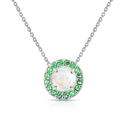 GemStar USA Sterling Silver Simulated White Opal and Simulated Emerald Round Halo Necklace