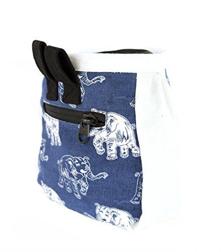 chaandu Indigo Laughing Elephant Chalk Bag with Pocket & Belt for Rock Climbing