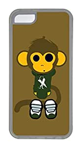 iPhone 5C Case, Customized Protective Soft TPU Clear Case for iphone 5C - Monkey Cover