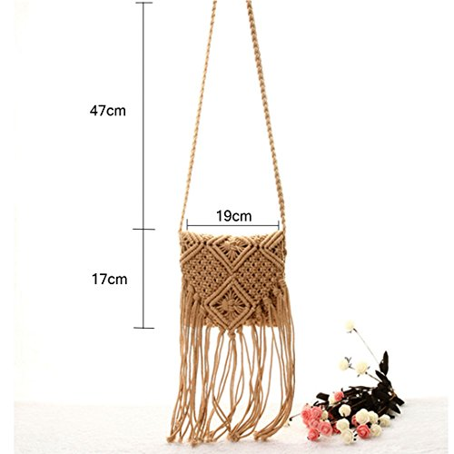 Tassel Bags Holiday Messenger Shoulder White Purse Bags Beach HAUTE Summer Brown Handmade LA Casual Women Crossbody Bags CBXq0xwn8