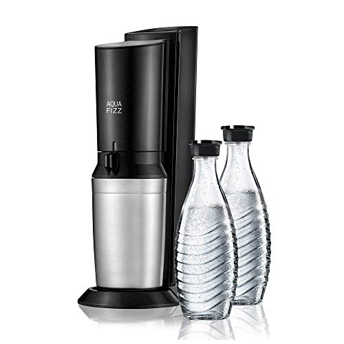 SodaStream Aqua Fizz Sparkling Water Maker Starter Kit with 2 Glass Carafes with Fizz Preserving Caps and 1 60L CO2 Cylinder, Elegant and Stylish Design, Turns Tap into Sparkling Water in Seconds!